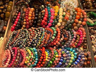 kleurrijke, armbanden, markt, stander