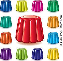 kleurrijke, assortiment, vector, gelatine, gelei