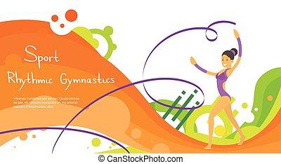 kleurrijke, atleet, competitie, turnoefening, artistiek,...