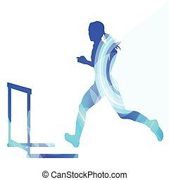kleurrijke, atleet, illustratie, vrouwlijk, hindernis, open plek, achtergrond, concept, silhouette, hardloop