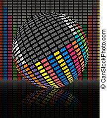 kleurrijke, audio, equalizer, staaf