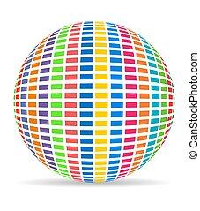 kleurrijke bal, met, equalizer, bal