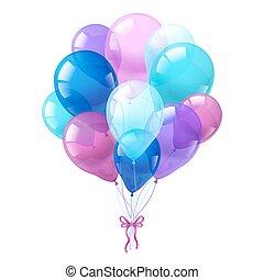 kleurrijke ballons, achtergrond, witte , bos