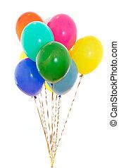 kleurrijke, ballons, bos, gevulde, met, helium, vrijstaand, op wit