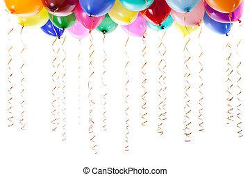 kleurrijke, ballons, gevulde, met, helium, en, met, gouden, wimpels, vrijstaand, op wit