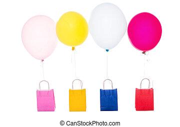 kleurrijke ballons, met, het winkelen zakken, vrijstaand, op wit
