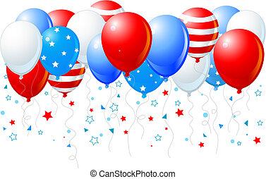 kleurrijke ballons, van, 4, van, juli, vlieg
