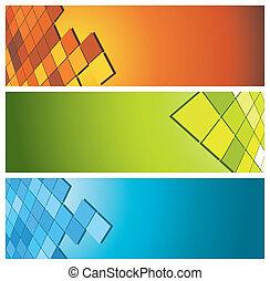 kleurrijke, banieren, (headers)