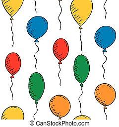 kleurrijke, behang, seamless, achtergrond., witte , ballons