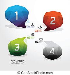 kleurrijke, bel, genummerde, zijn, geometrisch, moderne, banieren, infographics, gebruikt, groenteblik, ontwerp, /