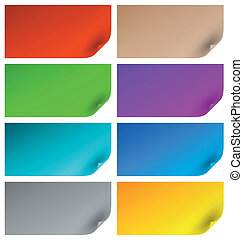 kleurrijke, bladen van document, met, gekrulde, hoeken