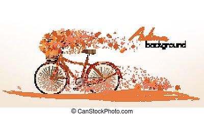 kleurrijke, bladeren, bicycle., herfst, vector, achtergrond