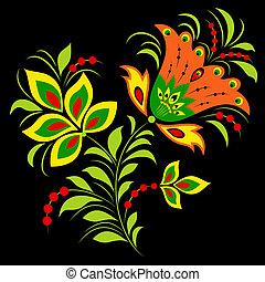 kleurrijke, bloem, op, zwarte achtergrond