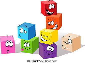kleurrijke, blokje, kinderachtig