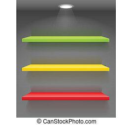 kleurrijke, boek shelves, op, donker, muur