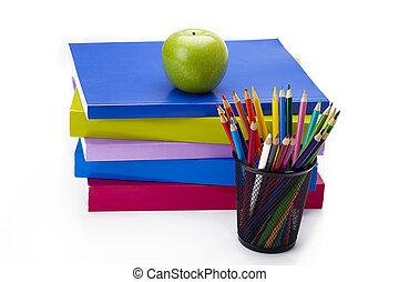 kleurrijke, boekjes , groene appel, stapel