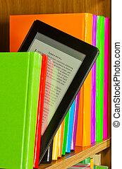 kleurrijke, boekjes , lezer, elektronisch boek, roeien