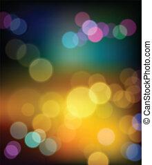 kleurrijke, bokeh, abstract, winter