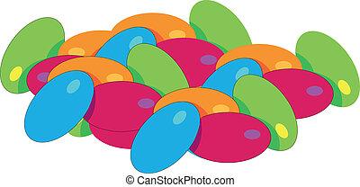 kleurrijke, bonen, gelei