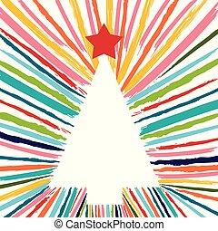 kleurrijke, boompje, hand, borstel, getrokken, kerstmis