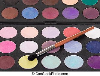 kleurrijke, borstel, schaduwen, maken, palet, schoonheidsmiddel, oog, boven.