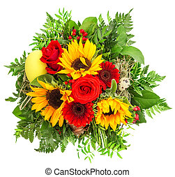 kleurrijke, bouquetten, lente, zonnebloem, gerber, flowers., rozen
