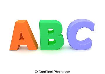 kleurrijke, brieven, alfabet