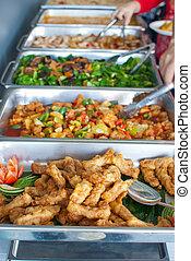 kleurrijke, buffet, vaat