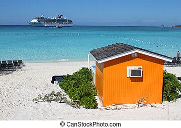 kleurrijke, cabana, op, tropisch strand