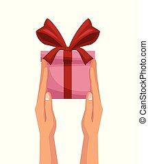 kleurrijke, cadeau, achtergrond, handen, witte , vasthouden