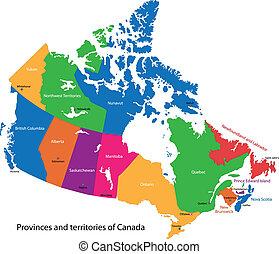 kleurrijke, canada kaart