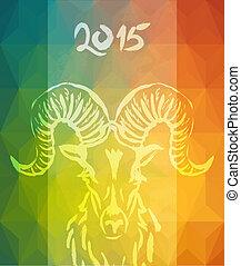kleurrijke, chinees, jaar, 2015, nieuw, chêvre, kaart