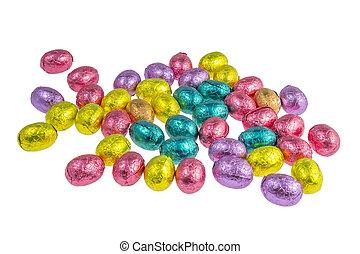 kleurrijke, chocoladepaaseieren