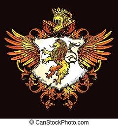 kleurrijke, classieke, embleem, pictogram, heraldisch, koninklijk