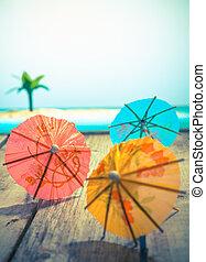 kleurrijke, cocktail paraplu's