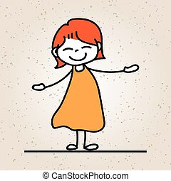 kleurrijke, concept, vreugde, karakter, hand, meisje, glimlachen, spotprent, vrolijke , tekening, geluk, geitje