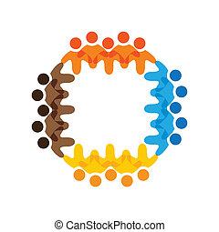 kleurrijke, concepten, gemeenschap, spelend, vriendschap, werknemer, vector, kinderen, &, school, vakbonden, verscheidenheid, teams, vertegenwoordigt, delen, icons(signs)., arbeider, geitjes, illustratie, graphic-, zoals, concept, enz.