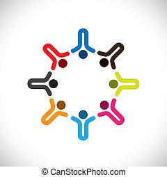 kleurrijke, concepten, gemeenschap, spelend, vrolijke , vriendschap, werknemer, vector, kinderen, &, vakbonden, verscheidenheid, vertegenwoordigt, delen, icons(signs)., geitjes, arbeider, abstract, illustratie, graphic-, zoals, concept, enz.