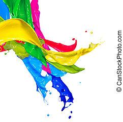 kleurrijke, de plons van de verf, vrijstaand, op, white., abstract, het bespaten