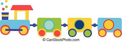 kleurrijke, de trein van het stuk speelgoed