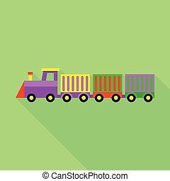 kleurrijke, de trein van het stuk speelgoed, pictogram, plat, stijl