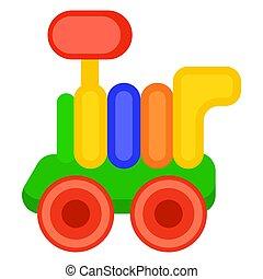 kleurrijke, de trein van het stuk speelgoed, wagon, vrijstaand, illustratie