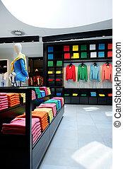 kleurrijke, de winkel van kleren, interieur