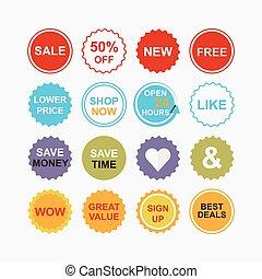 kleurrijke, detailhandel, en, shoppen , iconen