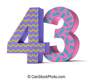 kleurrijke, document mache, getal, op, een, witte achtergrond, -, getal, 43