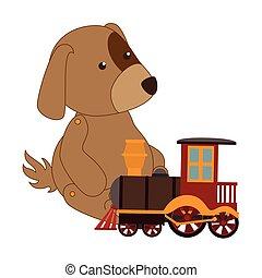 kleurrijke, dog, met, trein, speelbal
