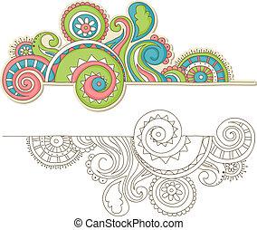 kleurrijke, doodle