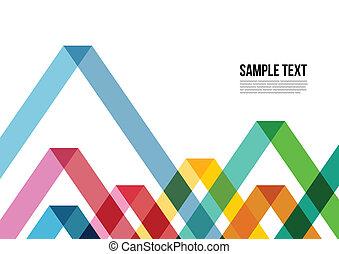 kleurrijke, driehoek, dekking, enz., informatieboekje , ...