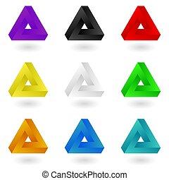kleurrijke, driehoeken, penrose
