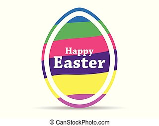 kleurrijke, easter., pasen, vrijstaand, illustratie, strepen, achtergrond., vector, wit ei, vrolijke
